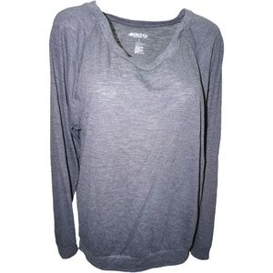 Ideology Raglan-Sleeve Striped Pullover Charcoal L
